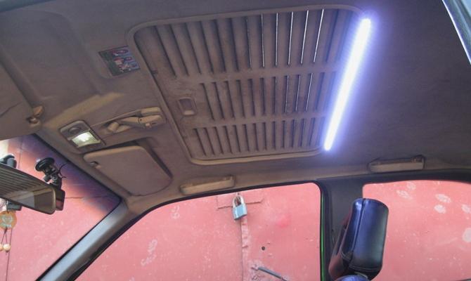 Установка светодиодной ленты в салон Opel Kadett