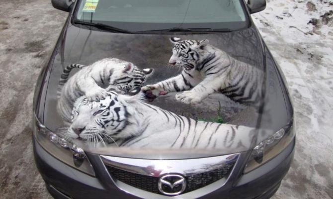 На фото - виниловая наклейка на капоте авто