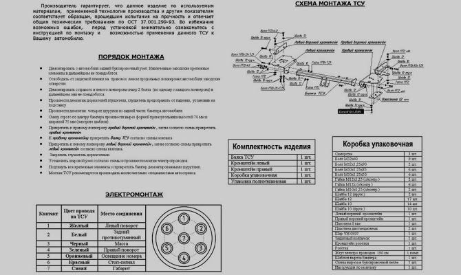 Схема установки ТСУ на ВАЗ 2190