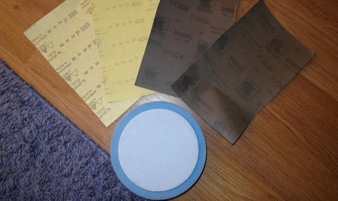 Наждачная бумага и полировальный круг